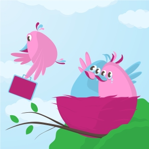 Cute cartoon bird family waving goodbye as one of their fledgling children decides its time to leave the nest and flies away with a suitcase under its wing, vector cartoon illustration